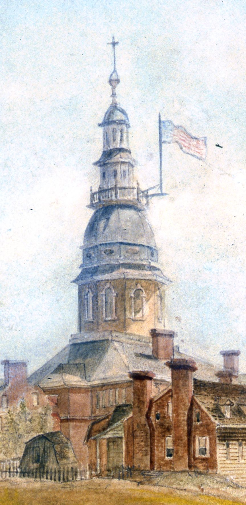 Detail of watercolor of Annapolis by Cotton Milbourne. Courtesy of the  Hammond Harwood House and the Maryland State Archives.